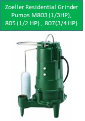Zoeller Residential Grinder Pumps Model 803, M805, M807