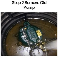 Step 2. Remove the old pump from the basin. Also remove the check valve.