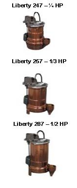 Pictured are the Liberty Model 247 Model 257 and Model 287 Submersible Sump Pump.