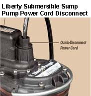 Liberty Submersible Sump Pump Power Cord can be disconnected.