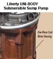 Uni-Body Housing used for Liberty Submersible Sump Pumps