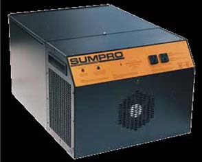 Pictured is the Sumpro Model 75 generator running on batteries with automatic transfer switch.